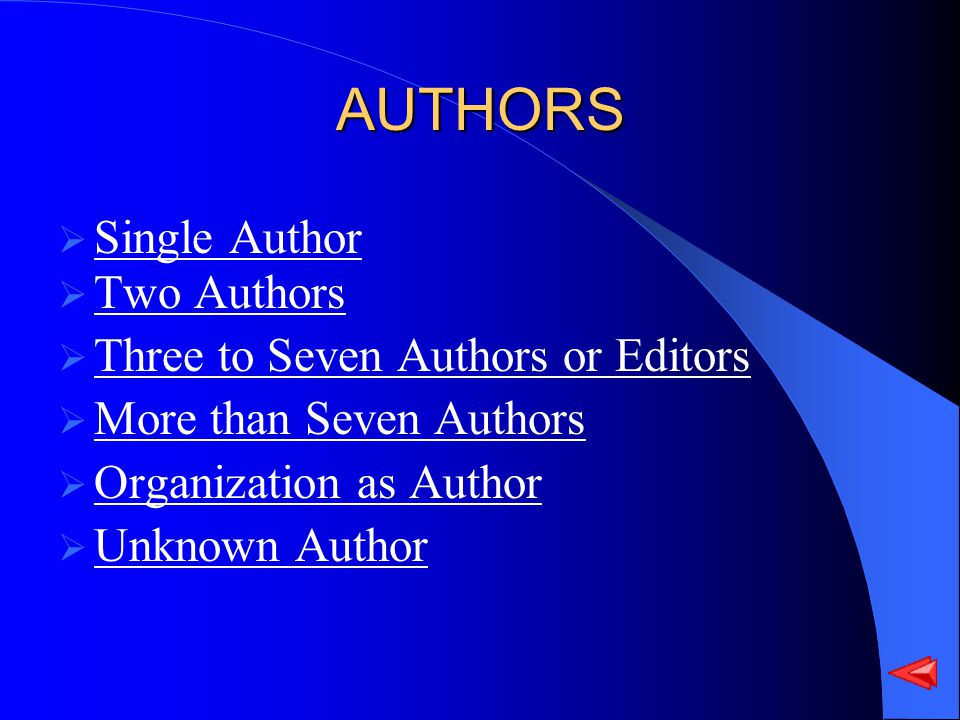 AUTHORS Single Author Two Authors Three to Seven Authors or Editors More than Seven Authors Organization as Author Unknown Author