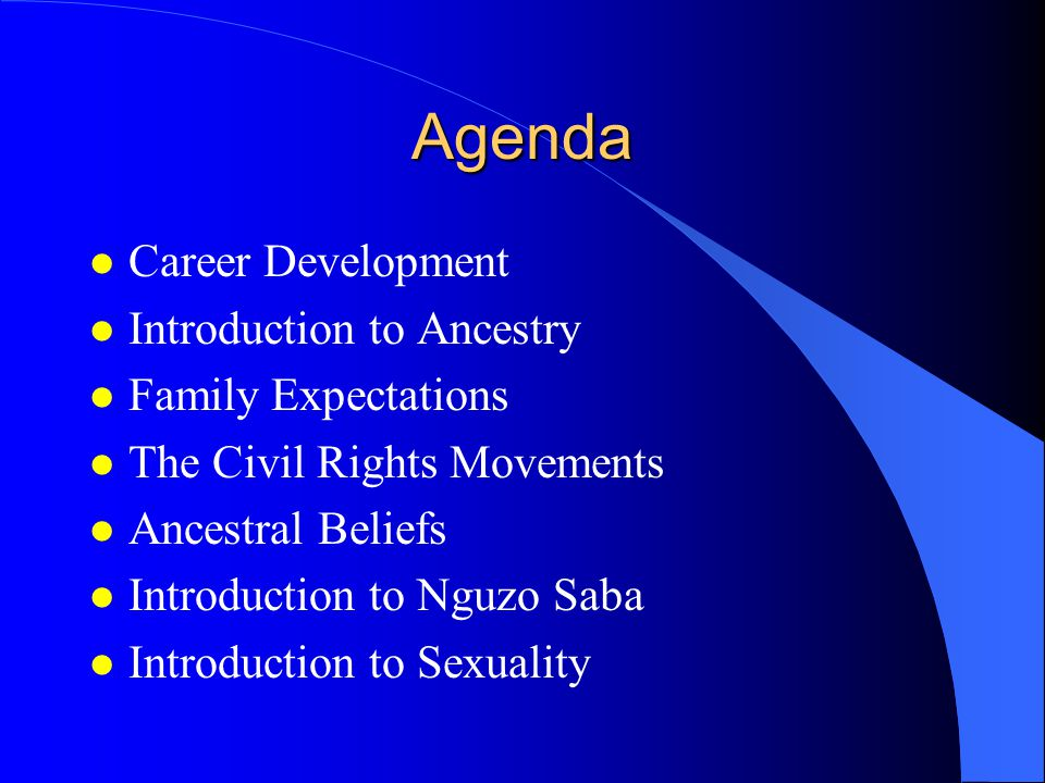 Agenda l Career Development l Introduction to Ancestry l Family Expectations l The Civil Rights Movements l Ancestral Beliefs l Introduction to Nguzo Saba l Introduction to Sexuality