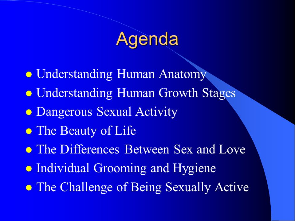 Agenda l Understanding Human Anatomy l Understanding Human Growth Stages l Dangerous Sexual Activity l The Beauty of Life l The Differences Between Sex and Love l Individual Grooming and Hygiene l The Challenge of Being Sexually Active