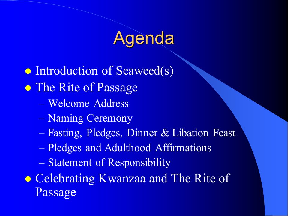 Agenda l Introduction of Seaweed(s) l The Rite of Passage –Welcome Address –Naming Ceremony –Fasting, Pledges, Dinner & Libation Feast –Pledges and Adulthood Affirmations –Statement of Responsibility l Celebrating Kwanzaa and The Rite of Passage