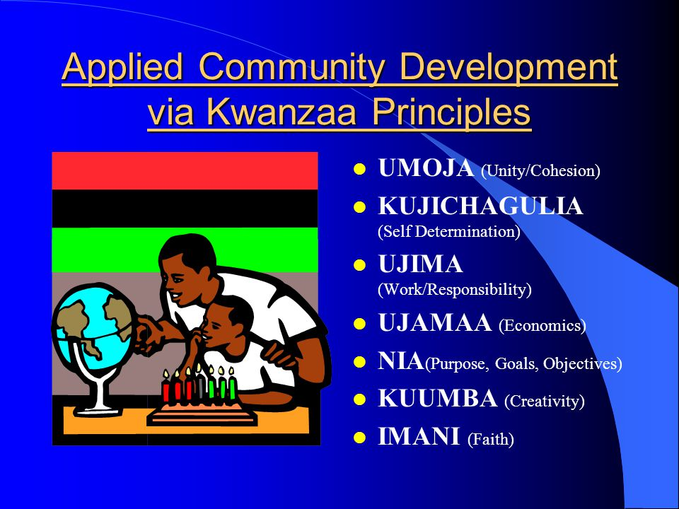 Applied Community Development via Kwanzaa Principles l UMOJA (Unity/Cohesion) l KUJICHAGULIA (Self Determination) l UJIMA (Work/Responsibility) l UJAMAA (Economics) l NIA (Purpose, Goals, Objectives) l KUUMBA (Creativity) l IMANI (Faith)