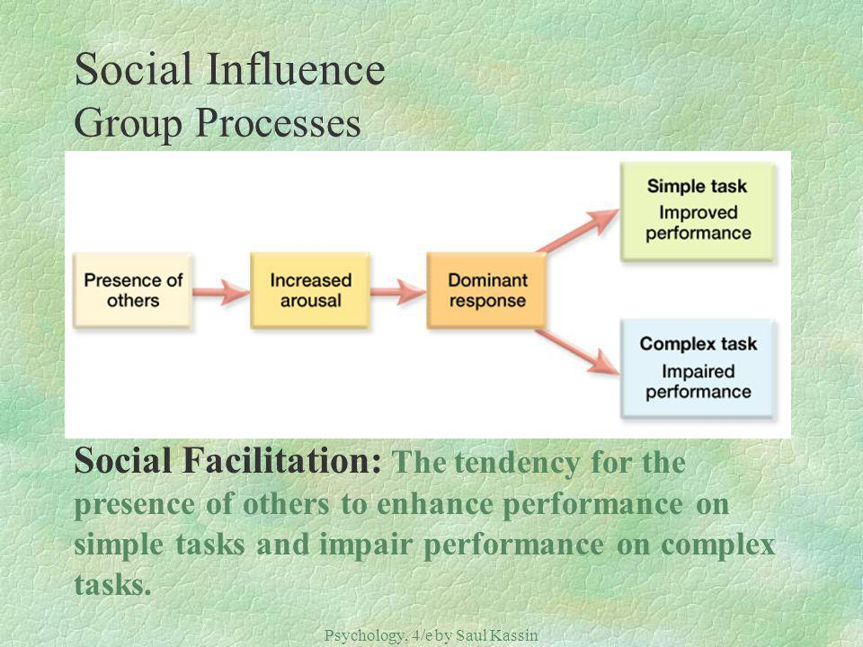 Psychology, 4/e by Saul Kassin ©2004 Prentice Hall Social Influence Group Processes Social Facilitation: The tendency for the presence of others to enhance performance on simple tasks and impair performance on complex tasks.