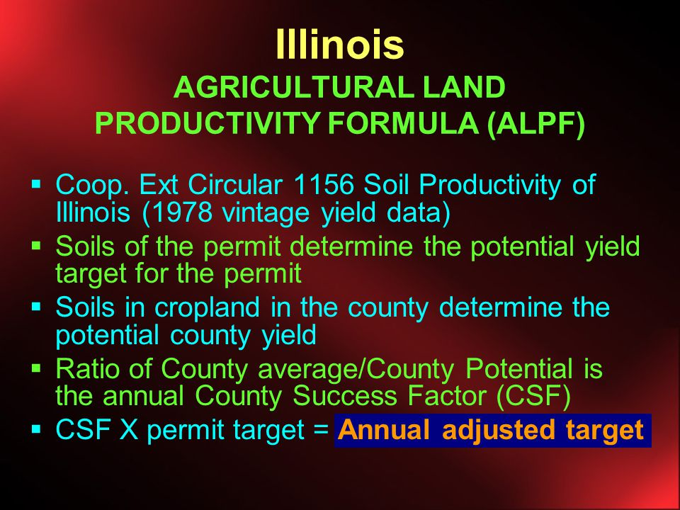 SMCRA Requires operator to restore mined land to pre-mine land use and level of productivity Created standards for soil replacement Authorized states primacy to regulate - state program no less stringent than federal rules Requires coal operator to show proof of productivity