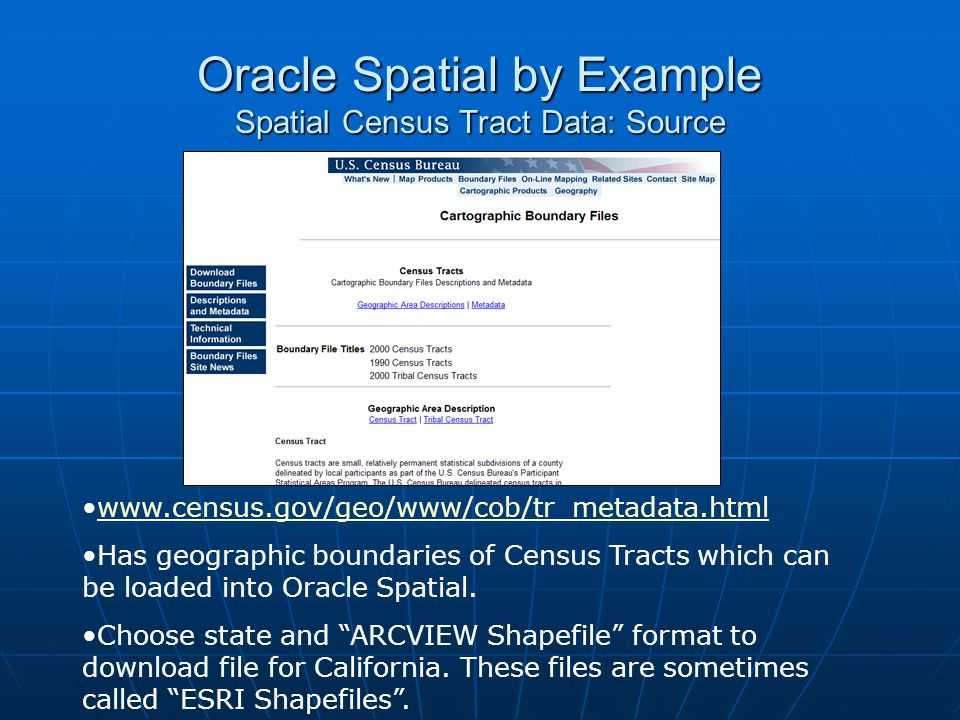 Oracle Spatial by Example Spatial Census Tract Data: Source www.census.gov/geo/www/cob/tr_metadata.html Has geographic boundaries of Census Tracts whi