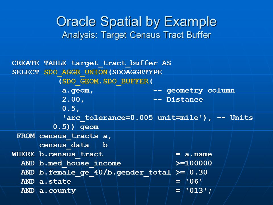 Oracle Spatial by Example Analysis: Target Census Tract Buffer CREATE TABLE target_tract_buffer AS SELECT SDO_AGGR_UNION(SDOAGGRTYPE (SDO_GEOM.SDO_BUF