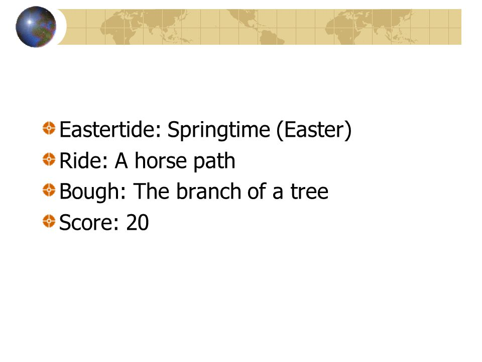 Define Eastertide Ride Bough Score