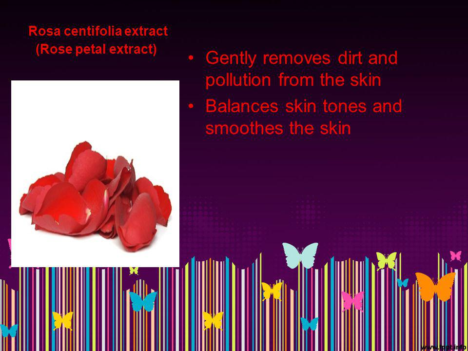 Rosa centifolia extract (Rose petal extract) Gently removes dirt and pollution from the skin Balances skin tones and smoothes the skin