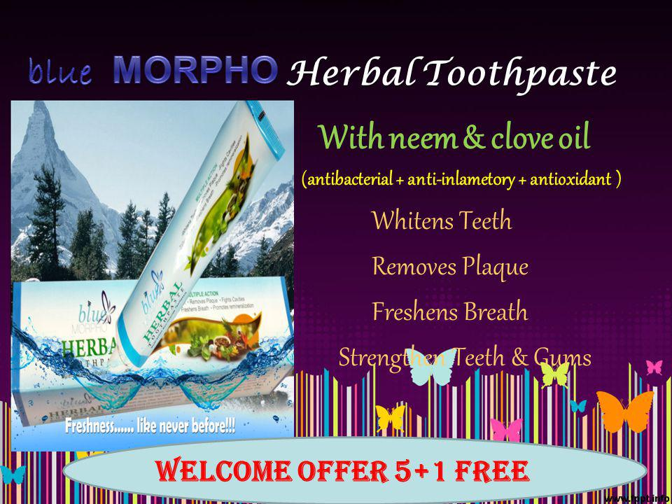 Herbal Toothpaste With neem & clove oil (antibacterial + anti-inlamet0ry + antioxidant ) Whitens Teeth Removes Plaque Freshens Breath Strengthen Teeth