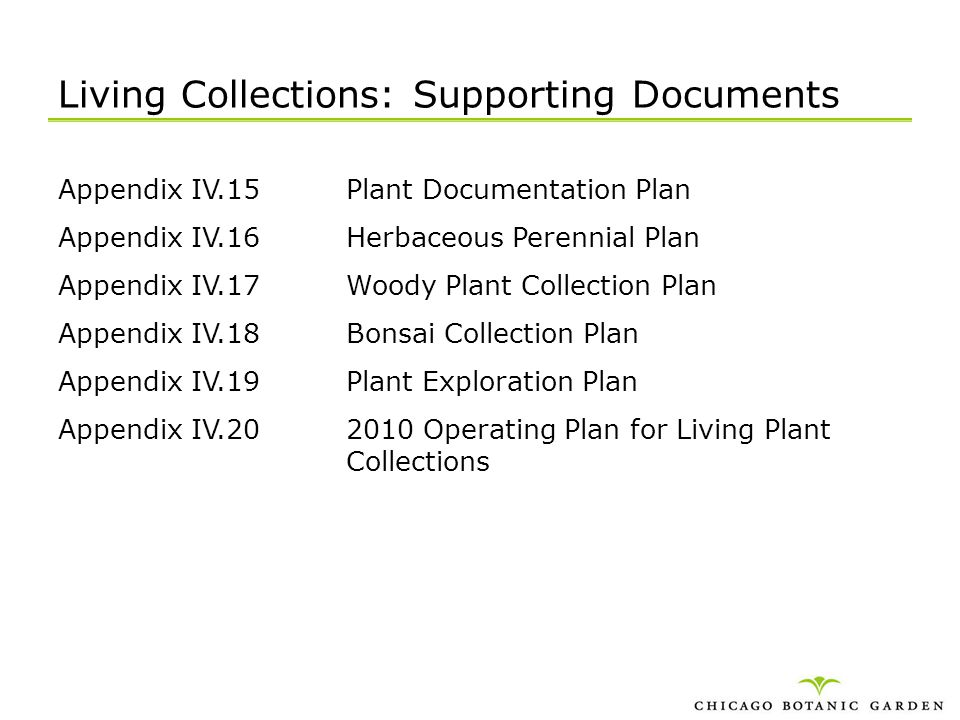 Living Collections: Supporting Documents Appendix IV.15Plant Documentation Plan Appendix IV.16Herbaceous Perennial Plan Appendix IV.17Woody Plant Coll