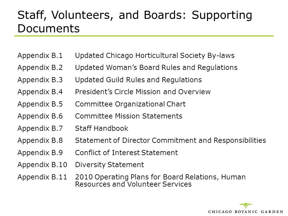 Staff, Volunteers, and Boards: Supporting Documents Appendix B.1Updated Chicago Horticultural Society By-laws Appendix B.2Updated Womans Board Rules a