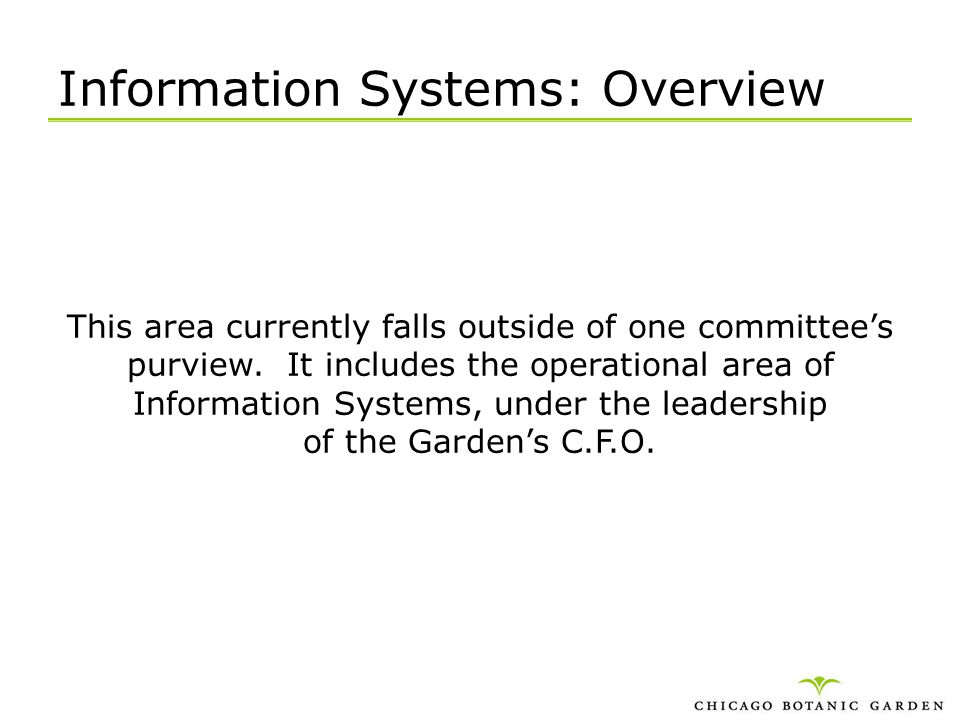 Information Systems: Overview This area currently falls outside of one committees purview. It includes the operational area of Information Systems, un