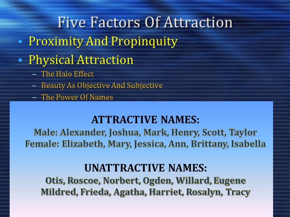 Five Factors Of Attraction Proximity And PropinquityProximity And Propinquity Physical AttractionPhysical Attraction – The Halo Effect – Beauty As Obj