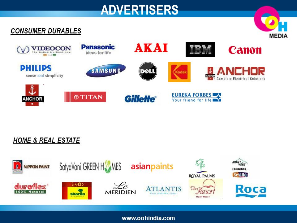 CONSUMER DURABLES HOME & REAL ESTATE ADVERTISERS www.oohindia.com