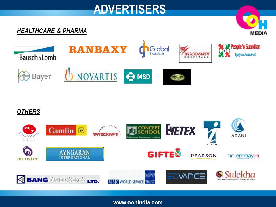 HEALTHCARE & PHARMA OTHERS ADVERTISERS www.oohindia.com