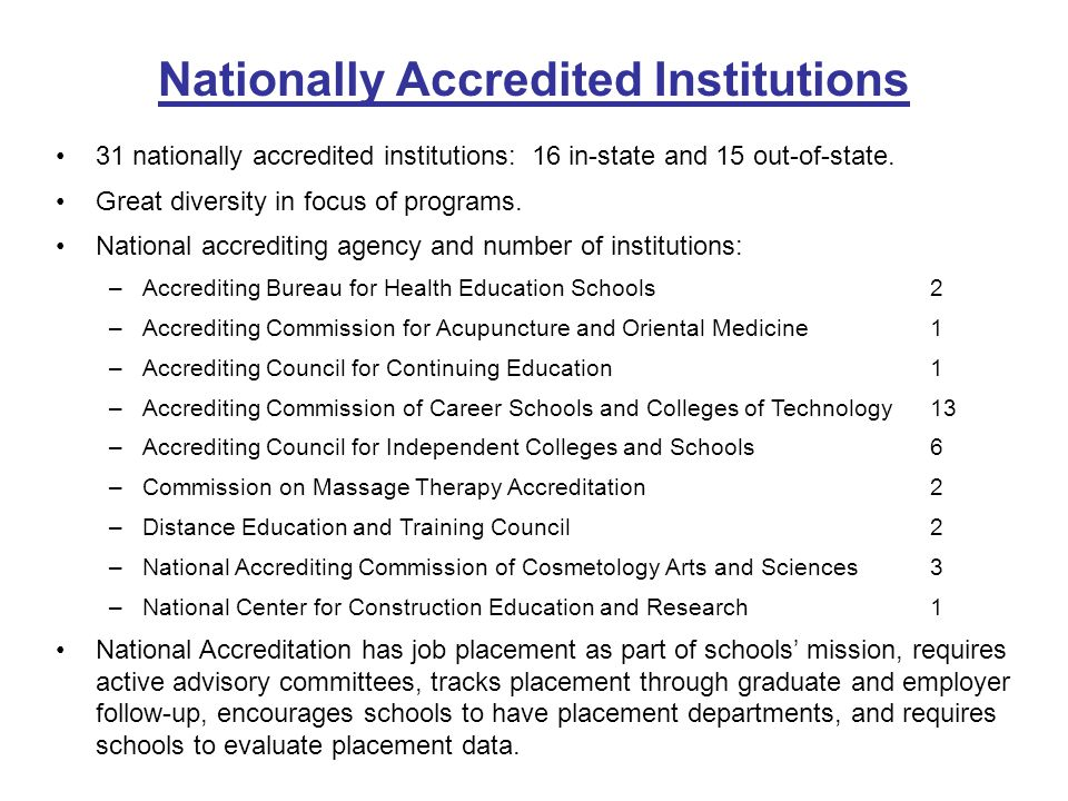 31 nationally accredited institutions: 16 in-state and 15 out-of-state.