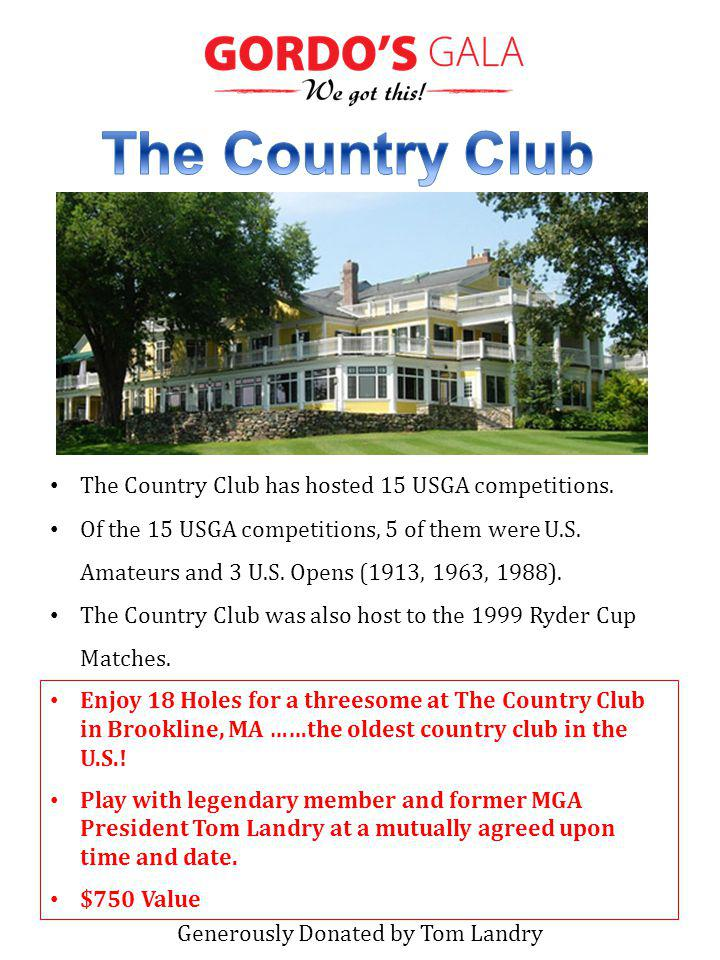 Enjoy 18 Holes for a threesome at The Country Club in Brookline, MA ……the oldest country club in the U.S..
