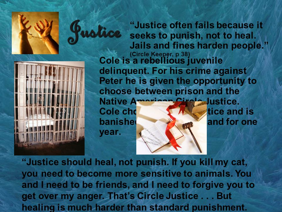 Justice Cole is a rebellious juvenile delinquent. For his crime against Peter he is given the opportunity to choose between prison and the Native Amer