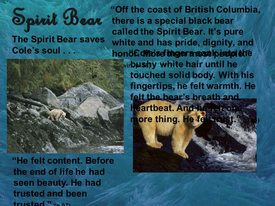 Spirit Bear Off the coast of British Columbia, there is a special black bear called the Spirit Bear. Its pure white and has pride, dignity, and honor.