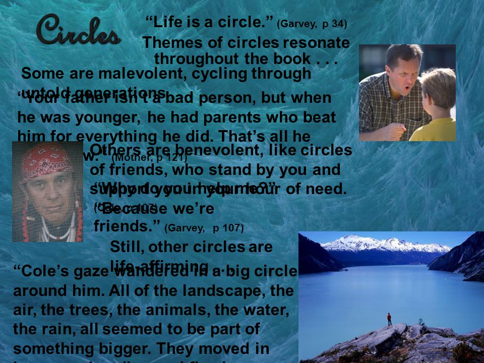 Circles Life is a circle. (Garvey, p 34) Themes of circles resonate throughout the book... Some are malevolent, cycling through untold generations...