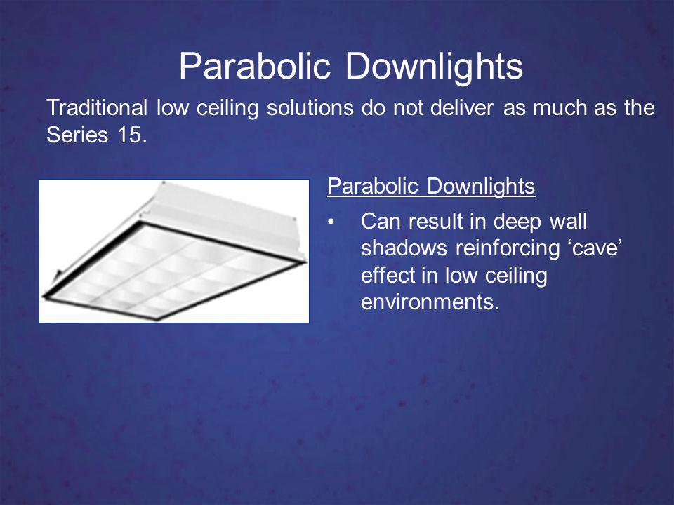 Parabolic Downlights Parabolic Downlights Can result in deep wall shadows reinforcing cave effect in low ceiling environments.