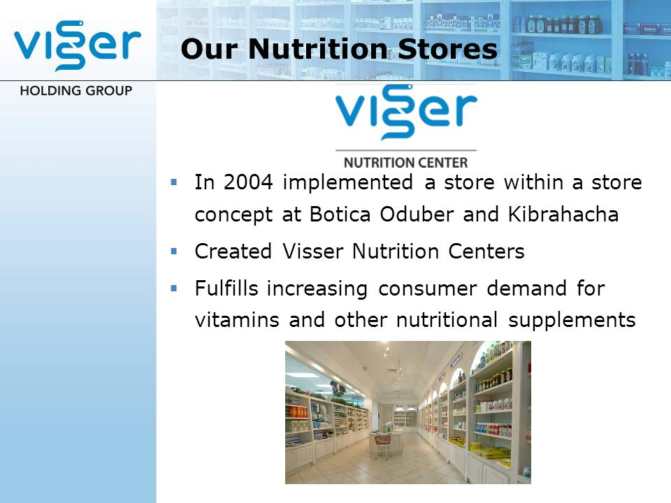 Our Nutrition Stores In 2004 implemented a store within a store concept at Botica Oduber and Kibrahacha Created Visser Nutrition Centers Fulfills incr