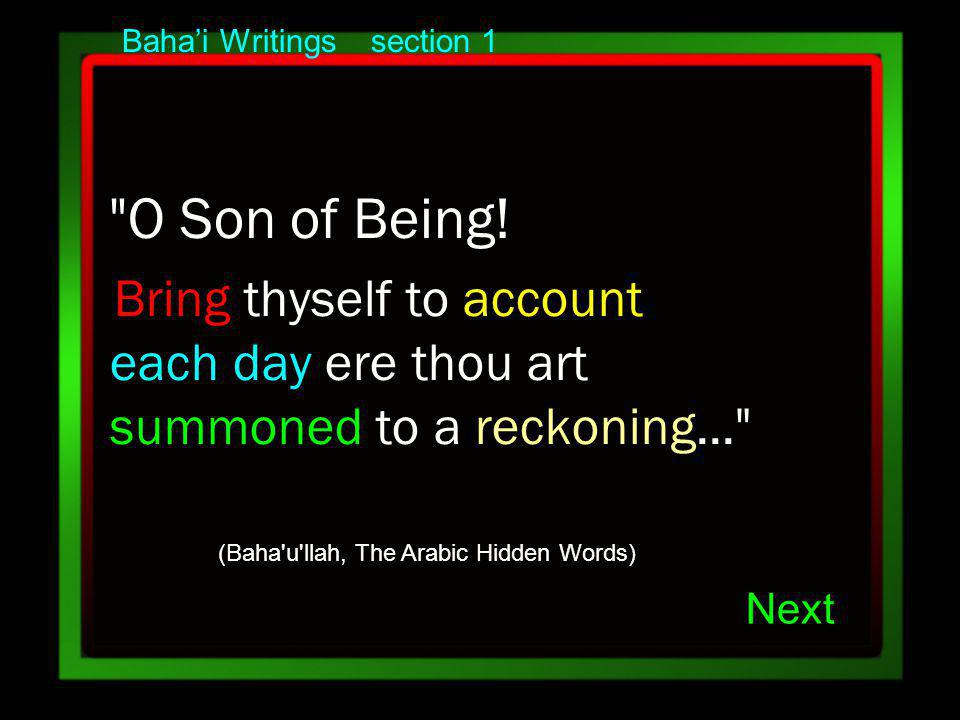 Bahai Writings section 1 O Son of Being.