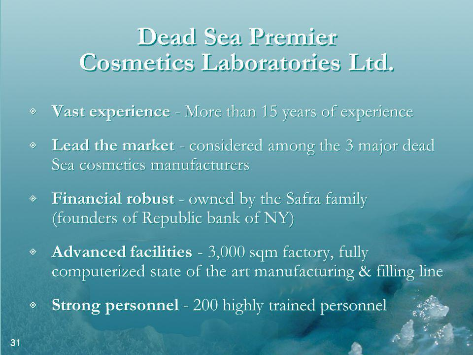 31 Dead Sea Premier Cosmetics Laboratories Ltd.