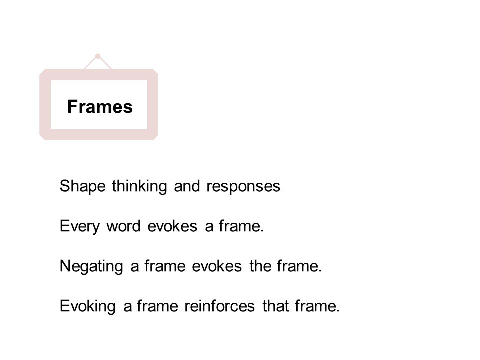 Shape thinking and responses Every word evokes a frame.