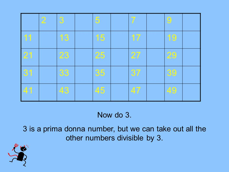 23579 1113151719 2123252729 3133353739 4143454749 Now do 3. 3 is a prima donna number, but we can take out all the other numbers divisible by 3.