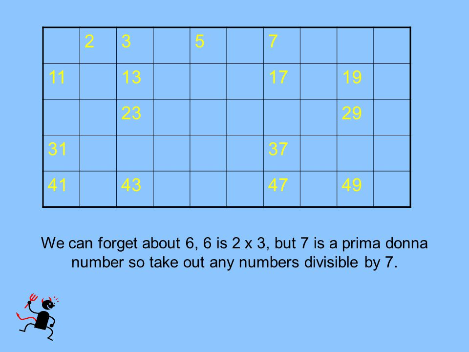 2357 11131719 2329 3137 41434749 We can forget about 6, 6 is 2 x 3, but 7 is a prima donna number so take out any numbers divisible by 7.