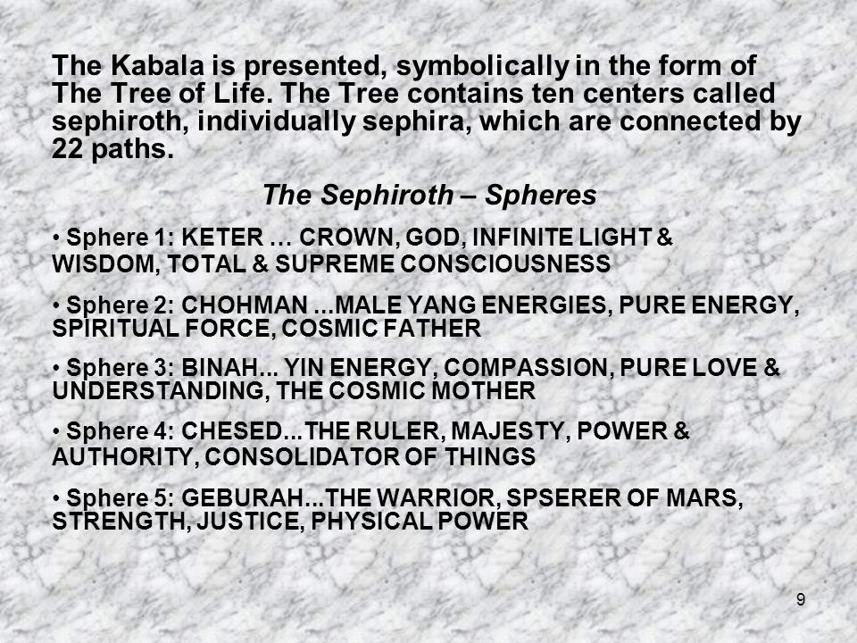9 The Kabala is presented, symbolically in the form of The Tree of Life.