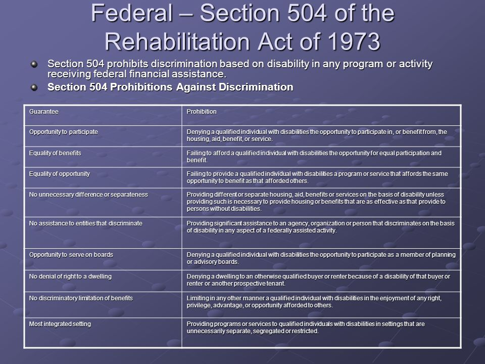 Federal – Section 504 of the Rehabilitation Act of 1973 Section 504 prohibits discrimination based on disability in any program or activity receiving
