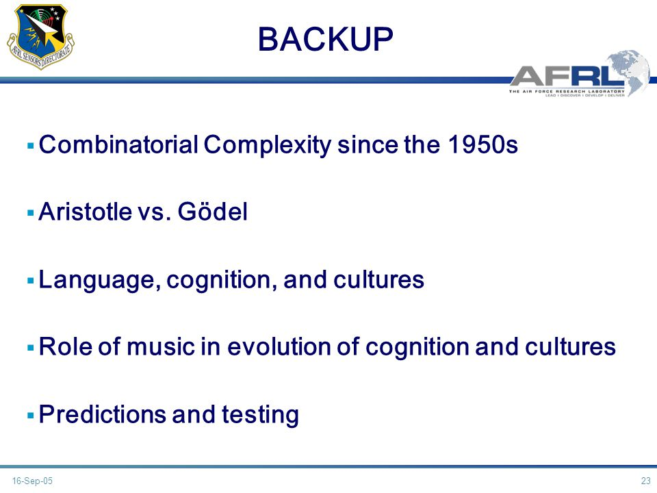 BACKUP Combinatorial Complexity since the 1950s Aristotle vs.
