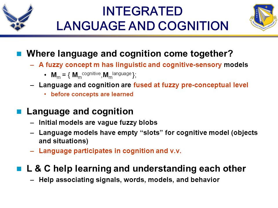 INTEGRATED LANGUAGE AND COGNITION Where language and cognition come together.