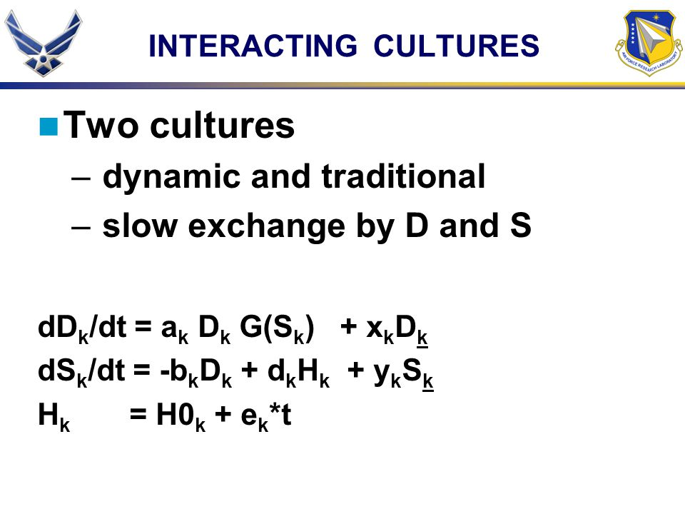 INTERACTING CULTURES Two cultures – dynamic and traditional – slow exchange by D and S dD k /dt = a k D k G(S k ) + x k D k dS k /dt = -b k D k + d k H k + y k S k H k = H0 k + e k *t