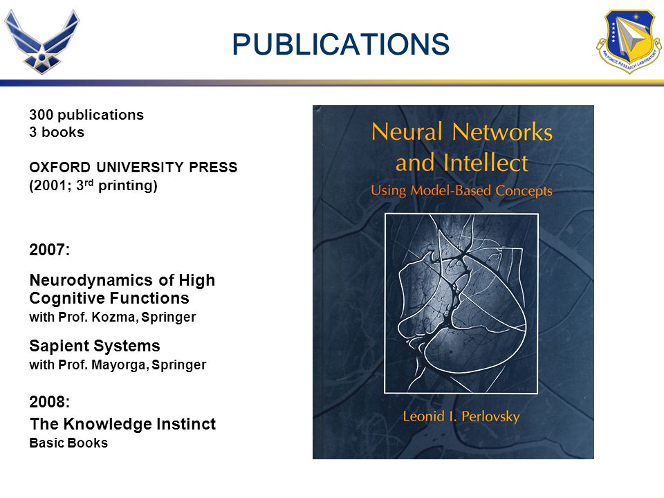 PUBLICATIONS 300 publications 3 books OXFORD UNIVERSITY PRESS (2001; 3 rd printing) 2007: Neurodynamics of High Cognitive Functions with Prof.