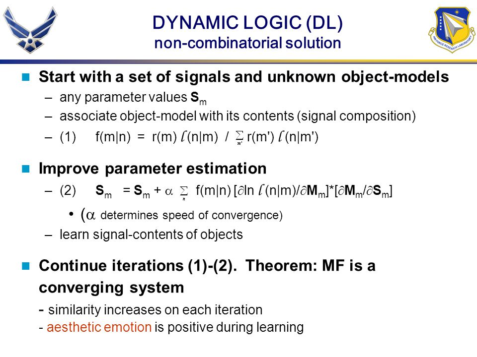 DYNAMIC LOGIC (DL) non-combinatorial solution Start with a set of signals and unknown object-models –any parameter values S m –associate object-model with its contents (signal composition) –(1)f(m|n) = r(m) l (n|m) / r(m ) l (n|m ) Improve parameter estimation –(2)S m = S m + f(m|n) [ ln l (n|m)/ M m ]*[ M m / S m ] ( determines speed of convergence) –learn signal-contents of objects Continue iterations (1)-(2).