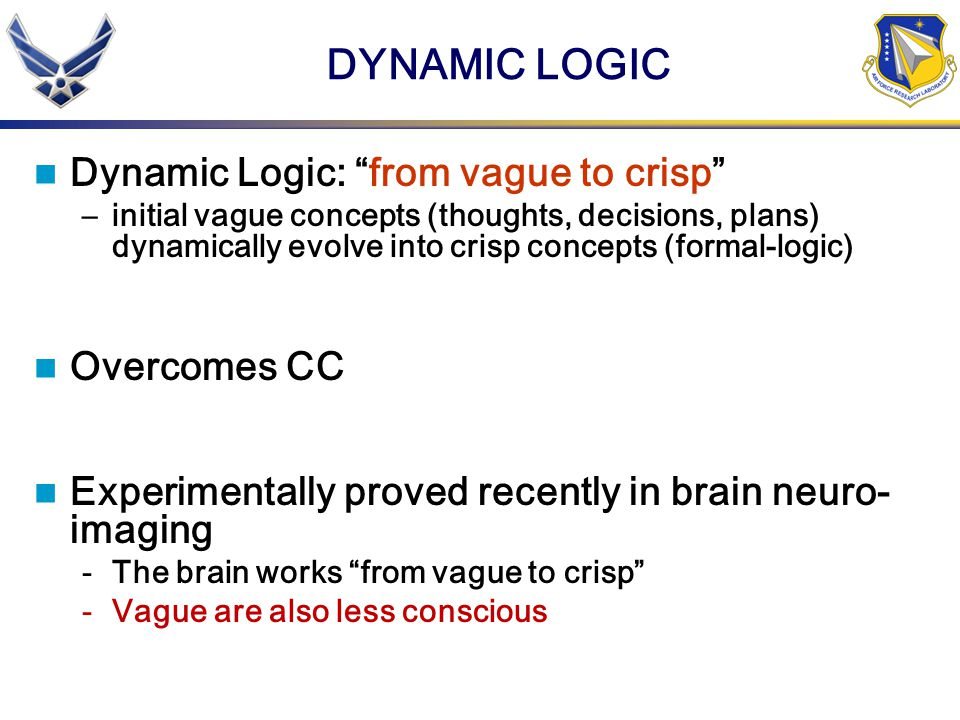 DYNAMIC LOGIC Dynamic Logic: from vague to crisp –initial vague concepts (thoughts, decisions, plans) dynamically evolve into crisp concepts (formal-logic) Overcomes CC Experimentally proved recently in brain neuro- imaging -The brain works from vague to crisp -Vague are also less conscious