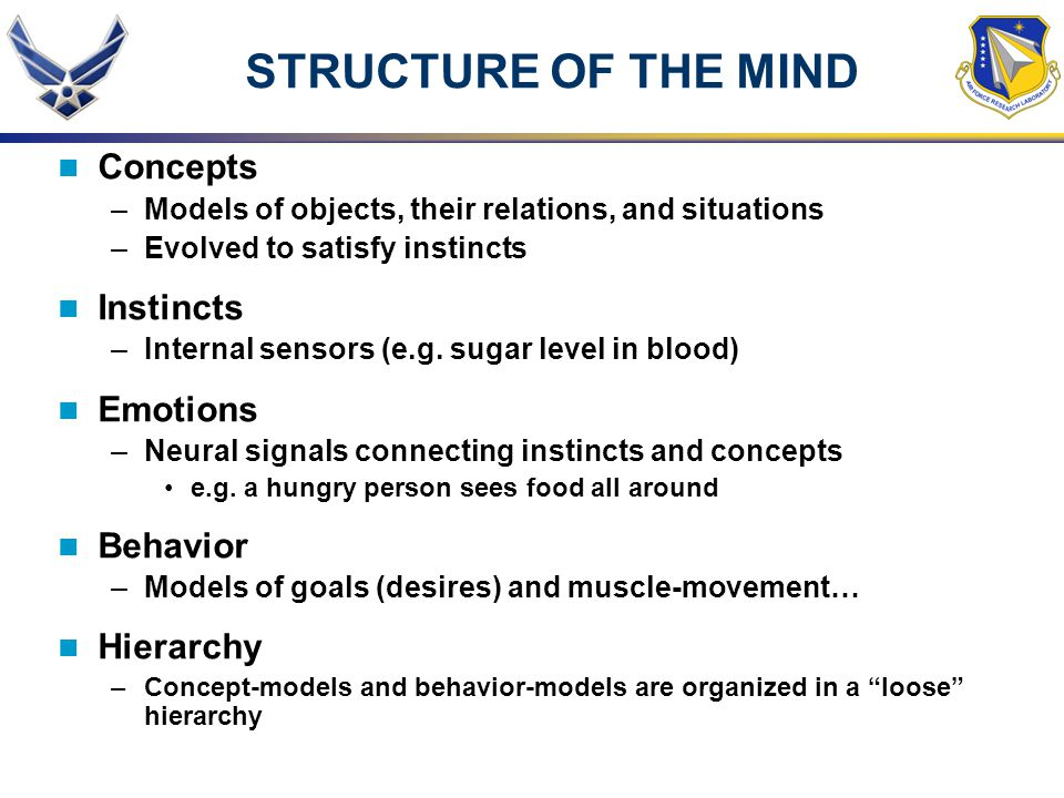 STRUCTURE OF THE MIND Concepts –Models of objects, their relations, and situations –Evolved to satisfy instincts Instincts –Internal sensors (e.g.