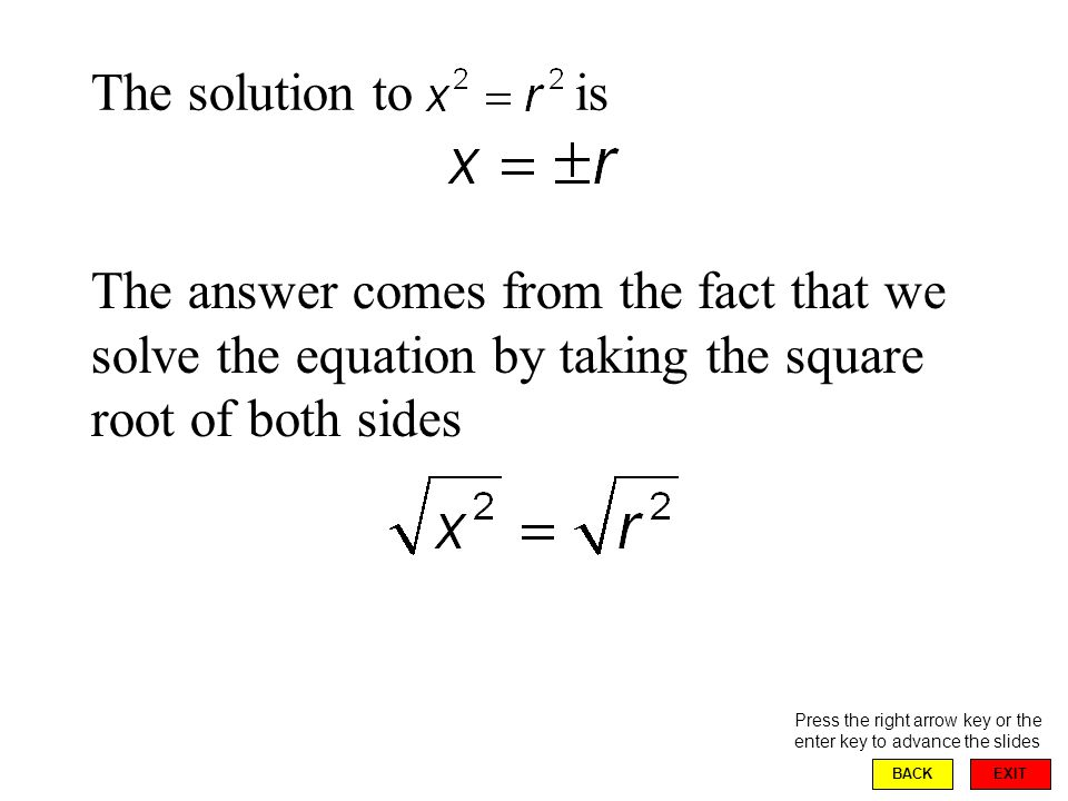 EXIT BACK The solution to is Press the right arrow key or the enter key to advance the slides The answer comes from the fact that we solve the equation by taking the square root of both sides