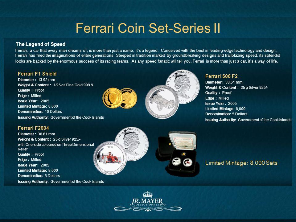 Ferrari Coin Set-Series II Ferrari F1 Shield Diameter : 13.92 mm Weight & Content : 1/25 oz Fine Gold 999.9 Quality : Proof Edge : Milled Issue Year :