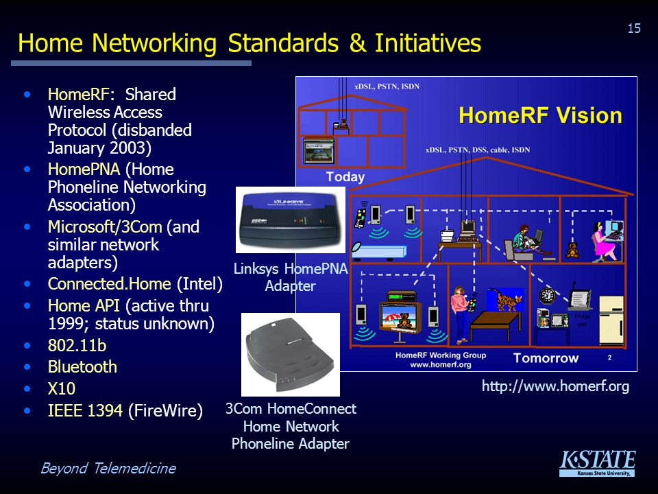 Beyond Telemedicine 15 Home Networking Standards & Initiatives HomeRF: Shared Wireless Access Protocol (disbanded January 2003) HomePNA (Home Phoneline Networking Association) Microsoft/3Com (and similar network adapters) Connected.Home (Intel) Home API (active thru 1999; status unknown) 802.11b Bluetooth X10 IEEE 1394 (FireWire) http://www.homerf.org 3Com HomeConnect Home Network Phoneline Adapter Linksys HomePNA Adapter