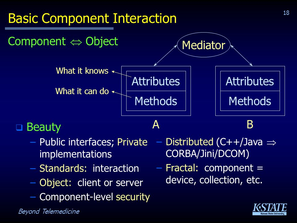 Beyond Telemedicine 18 Basic Component Interaction Beauty –Public interfaces; Private implementations –Standards: interaction –Object: client or server –Component-level security Attributes Methods A Attributes Methods B Mediator Component Object What it knows What it can do –Distributed (C++/Java CORBA/Jini/DCOM) –Fractal: component = device, collection, etc.