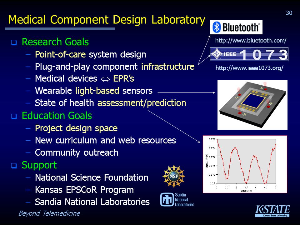Beyond Telemedicine 30 Medical Component Design Laboratory Research Goals –Point-of-care system design –Plug-and-play component infrastructure –Medical devices EPRs –Wearable light-based sensors –State of health assessment/prediction Education Goals –Project design space –New curriculum and web resources –Community outreach Support –National Science Foundation –Kansas EPSCoR Program –Sandia National Laboratories http://www.ieee1073.org/ http://www.bluetooth.com/