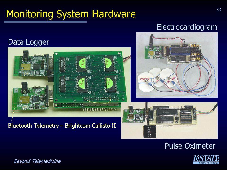 Beyond Telemedicine 33 Monitoring System Hardware Bluetooth Telemetry – Brightcom Callisto II Pulse Oximeter Electrocardiogram Data Logger