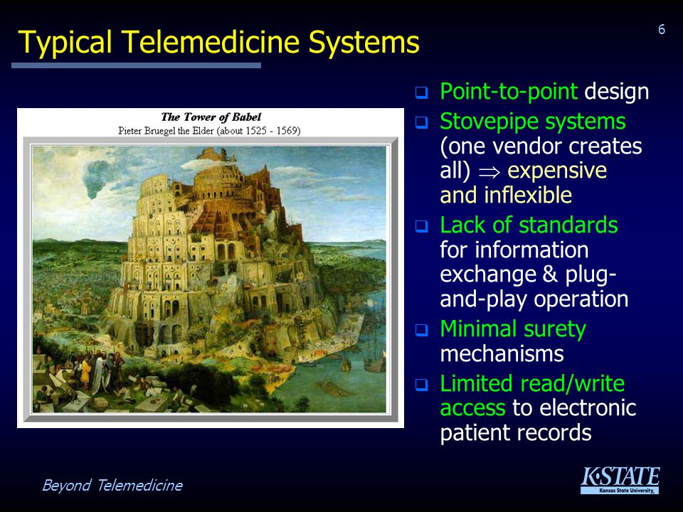 Beyond Telemedicine 27 Distributed Telemedicine System Patient Station Caregiver Station Patient Record Server Diagnostic Services System Protocol Server Patient Records Backplane Comms Backplane Comms Processing Medical Devices User Interface Backplane Comms Backplane Comms Protocols User Interface Backplane Comms Link