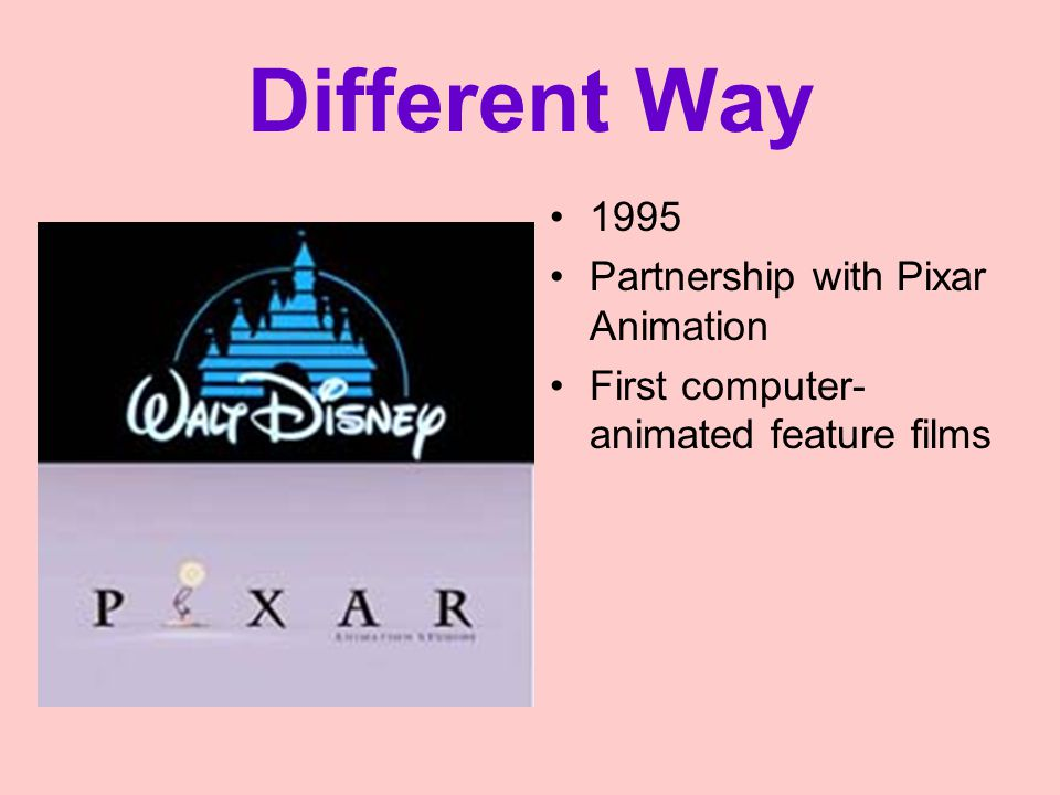 Different Way 1995 Partnership with Pixar Animation First computer- animated feature films