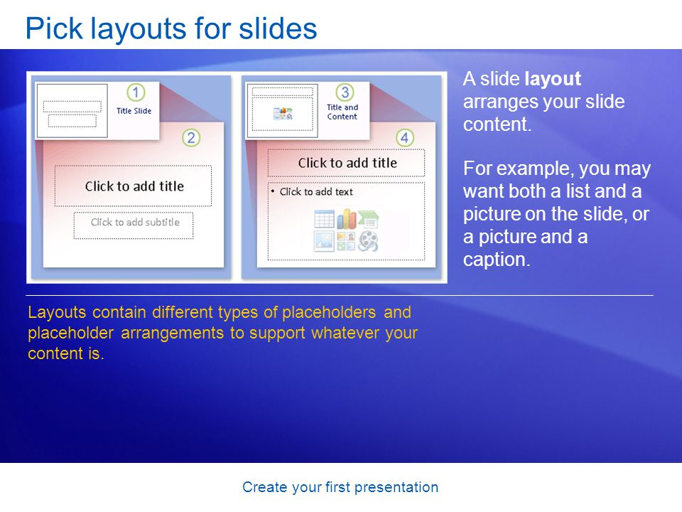 Create your first presentation Pick layouts for slides A slide layout arranges your slide content. For example, you may want both a list and a picture