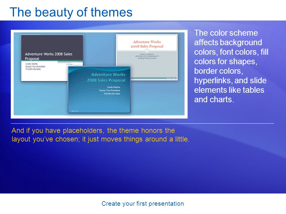 Create your first presentation The beauty of themes The color scheme affects background colors, font colors, fill colors for shapes, border colors, hy