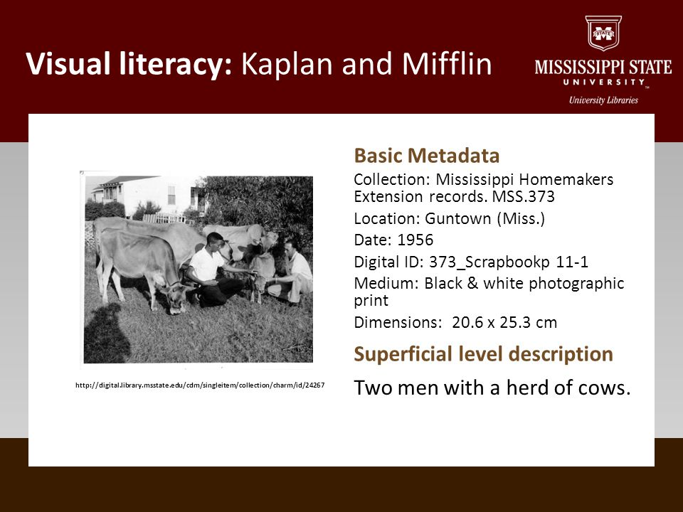 Visual literacy: Kaplan and Mifflin http://digital.library.msstate.edu/cdm/singleitem/collection/charm/id/24267 Basic Metadata Collection: Mississippi Homemakers Extension records.